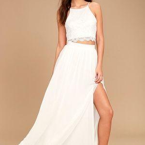 Lulu's Midnight Memories Lace Two-Piece Maxi Dress